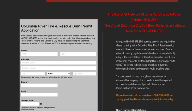 SCREENSHOT COURTESY OF THE COLUMBIA RIVER FIRE AND RESCUE WEBSITE - Burn permits can be applied for online through the Columbia River Fire and Rescue fire department website or by visiting the adminstrative office. A similar form for the Scappoose Fire District burn permit is also on the district's website.