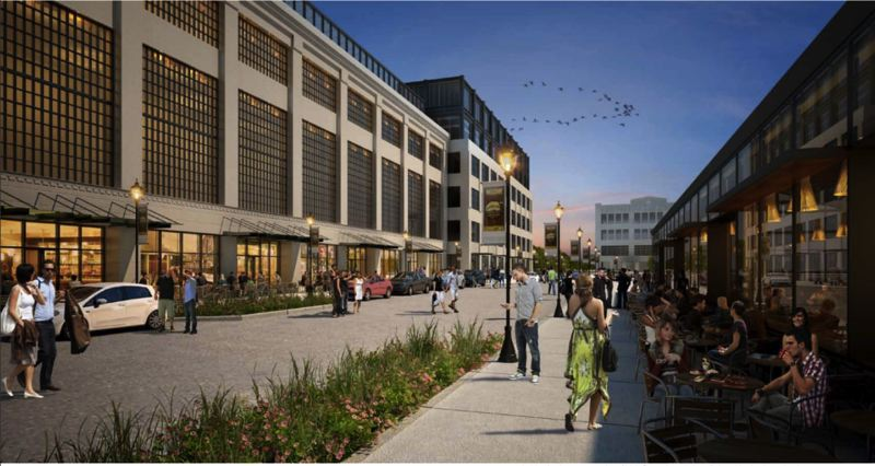 SOURCE: OREGON CITY - Renderings show a vision for the potential reconnection of Main Street through the mill site, with mixed-use development and revitalized historic structures facing a walkable, multi-modal streetscape.