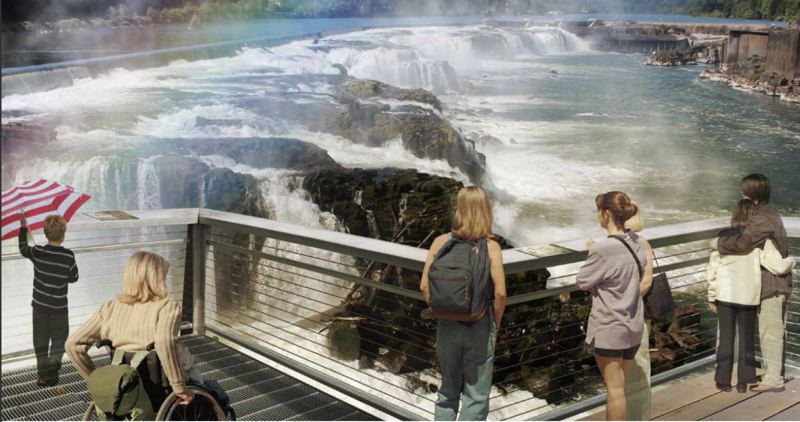 SOURCE: OREGON CITY - Officials say establishing a viewing platform on the dam overlooking the falls will attract tourists and regional residents to a formerly inaccessible perspective of the falls.