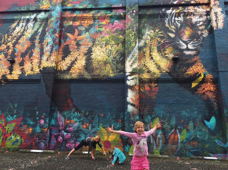 PORTLAND TRIBUNE: MICHAELA BANCUD - 'The Guardian' is a new mural by Ernesto Maranje that overlooks a parking lot that is shared by Central Eastside businesses Cargo, Hair of the Dog Brewing Co., and Lippman Company.