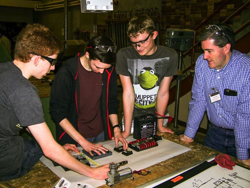COURTESY PHOTO: TEAM SHOCKWAVE - Space is tight when designing the electrical board, so the placement of each component on the robot needs to be planned out and evaluated, said Jean Tenca.