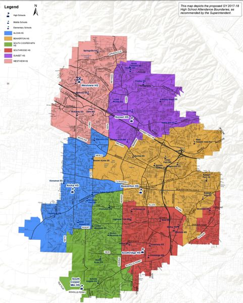 COURTESY OF THE BEAVERTON SCHOOL DISTRICT - Boundary changes go into effect during the 2017-18 school year.