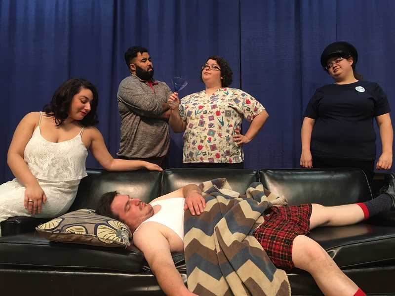 CONTRIBUTED PHOTO - From top left: Ella Nelson-Mahon, Ray Pierott, Holly Miller and Heidi Miller, as well Tyler Shilstone, on the couch, make up the cast of 'I Take This Man,' Gresham Little Theater's latest production. The play opens Oct. 20.