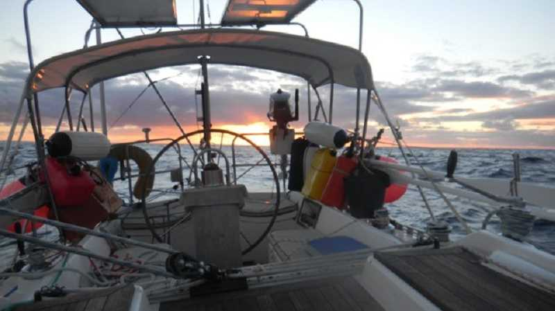 SUBMITTED PHOTO - John Colby points 'Iris' toward the sun as he travels across the Indian Ocean.