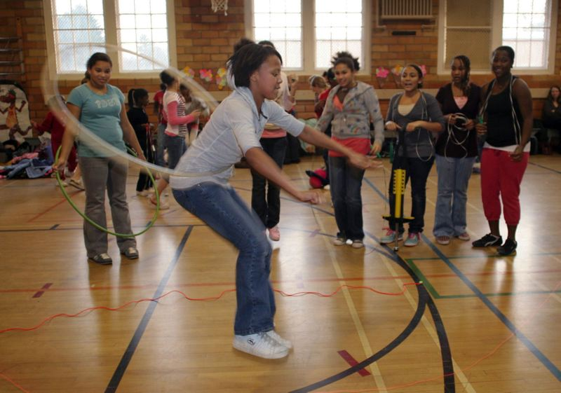 TRIBUNE FILE PHOTO - Students participate in physical education at Irvington School in Portland.