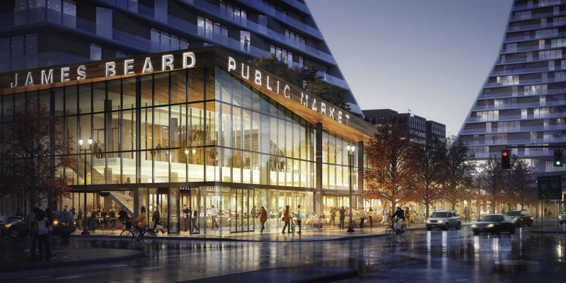 COURTESY JAMES BEARD PUBLIC MARKET - An architectural rendering of the now-scrapped market at the base of the Morrison bridge.