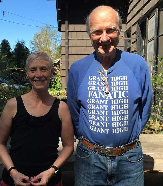 COURTESY PHOTOS - Cecelia Warner stands with one of her new environmental heroes, Joe Smith, who pioneered the Shake & Fold method to reduce paper towel waste.