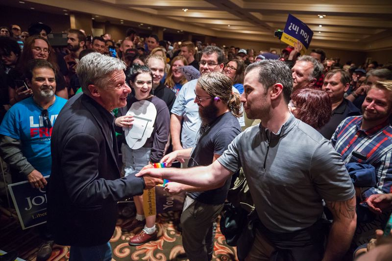 TRIBUNE PHOTO: JONATHAN HOUSE - Libertarian presidential candidate Gary Johnson meets with supporters after a rally on Thursday evening in Portland.