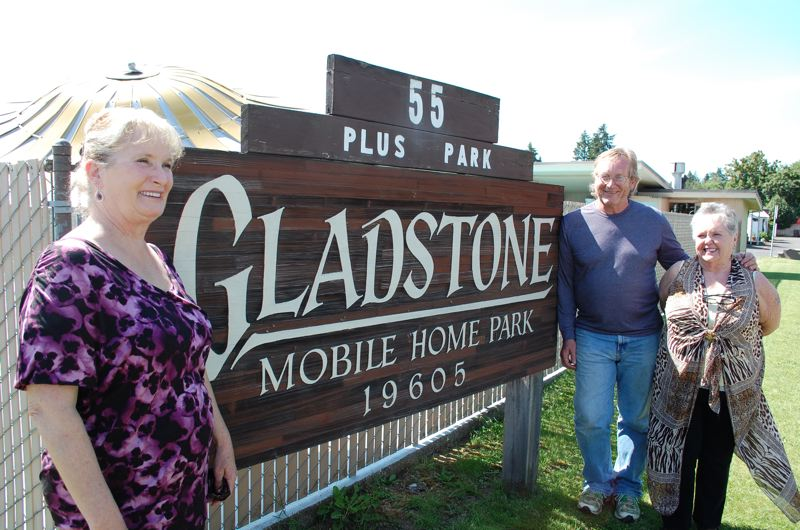 PHOTO BY: RAYMOND RENDLEMAN - Linda Re (left) joins fellow Gladstone Mobile Home Park residents Kim Baller and Christy Crews in advocating for tenants to purchase the land on which the mobile-home park sits.