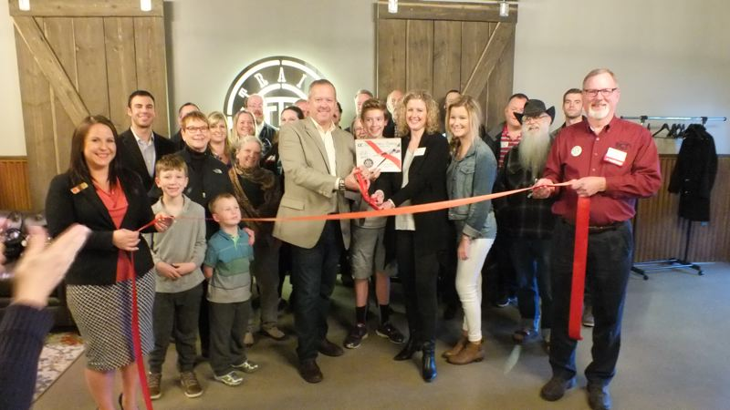 PHOTO COURTESY: SANDI BURNS - The Oregon City Chamber of Commerce holds a ribbon-cutting ceremony for Trail Distilling on Oct. 27.