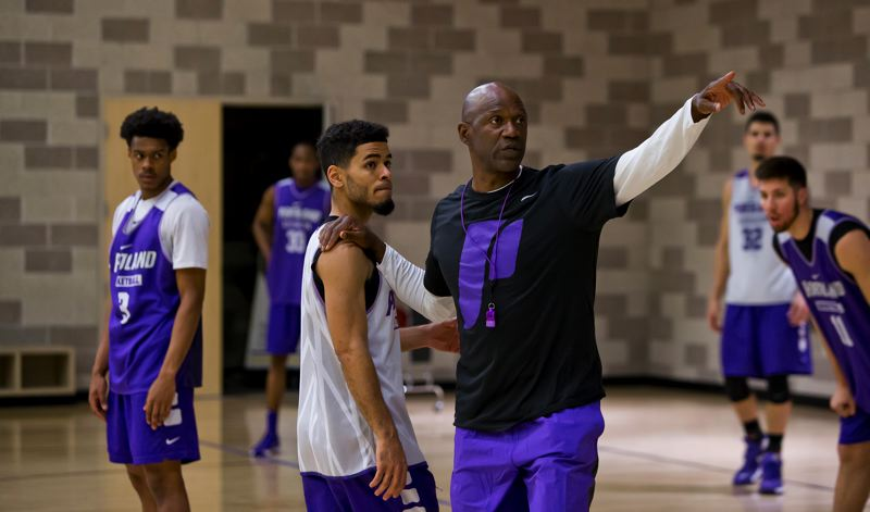 COURTESY: UNIVERSITY OF PORTLAND - Senior point guard Alec Wintering (left) is the key returning player for new coach Terry Porter as the Portland Pilots prepare for Friday's season opener.