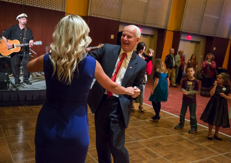TRIBUNE PHOTO: JONATHAN HOUSE - Republican Dennis Richardson celebrated Tuesday evening in Salem after he won the secretary of state's job in a tight race against Labor Commissioner Brad Avakian.