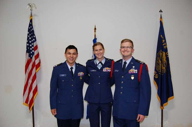 SUBMITTED PHOTO - The three Aurora Composite Squadron cadets who have been awarded the Amelia Earhart Award in the past three years are (from left) Cadet Captain Simon Chuang of West Linn, Cadet Major Elizabeth Parker of Tualatin and Cadet Major Zachary Proffitt of Lake Oswego.
