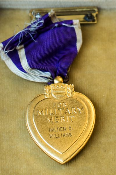 OUTLOOK PHOTO: JOSH KULLA - Williams' Purple Heart medal.