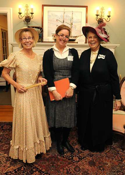 REVIEW PHOTO: VERN UYETAKE - Living history actors portrayed Lake Oswego's early citizens Thursday at the grand opening of the Oswego Heritage Council's new museum. From left: Nancy Tongue  as Edna Beckner, Nancy Niland as Lucia Bliss and Nancy Dunis as Lucy Pollard.