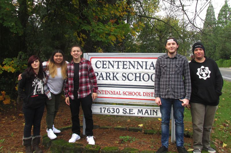 OUTLOOK PHOTO - Centennial Park School students Ayla Harrett, Lupita Espinoza, Jose Ruiz-Valentine, Michael Braithwait and Skyler Grace.