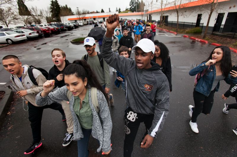 TIMES PHOTO: JAIME VALDEZ - Students at Beaverton High School staged a walkout Monday morning to voice their opposition to President-elect Donald Trump