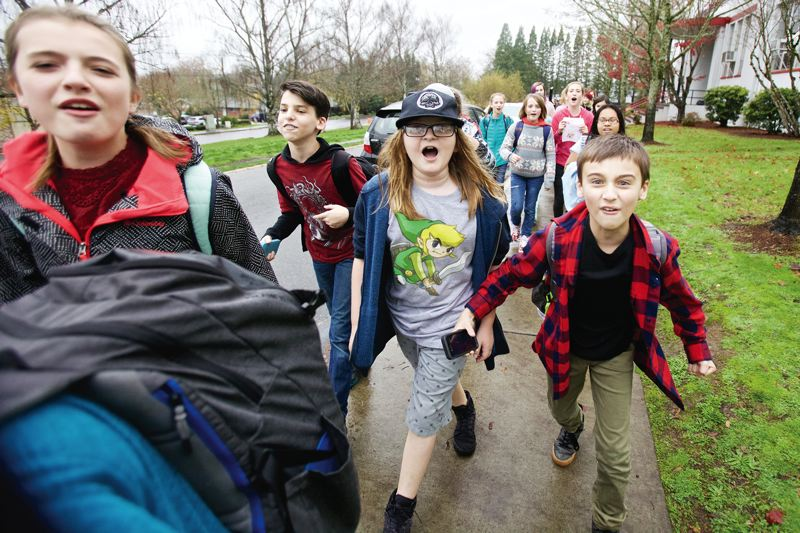 TIMES PHOTO: JAIME VALDEZ - Like their peers across the district and across the nation, students at the Arts and Communication Magnet Academy walked out on Monday morning.