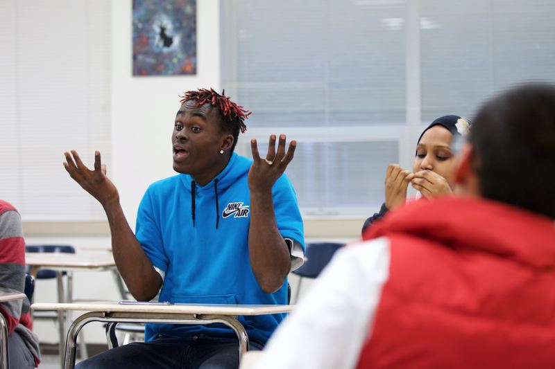 TIMES PHOTO: JAIME VALDEZ - Westview High School senior Sam Karlin shares his thoughts at a Black Student Union meeting.
