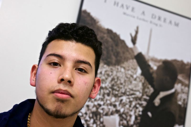TIMES PHOTO: JAIME VALDEZ - Hector Miranda, a senior at Westview, shared his thoughts during a gathering of Mecha club students on Monday.