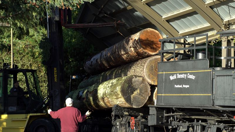 COURTESY PHOTO: KATHY STREET/OREGON ZOO - A crew from Stimson Lumber Co. lifts five 30-foot Douglas-fir logs from the World Forestry Center's Peggy the Train exhibit this week. The logs that had been on display for 15 years were doanted to the Oregon Zoo's Elephant Lands habitat.