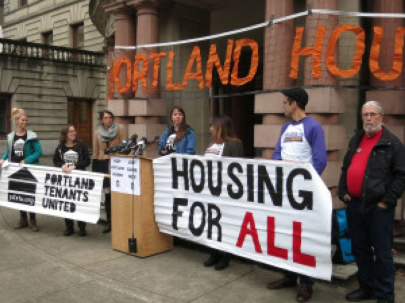 KRISTAN FODEN-VENCIL-OPB - Several community groups rallied for immediate rent controls Friday at City Hall.