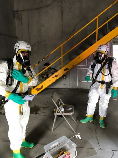 PHOTO COURTESY: CLACKAMAS FIRE - The joint training exercise on Nov. 14 covered specialized protective suits that are used when testing for possible hazardous exposures.