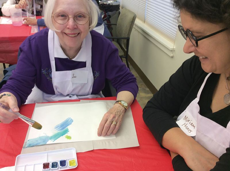 SUBMITTED PHOTO - Rose Villa resident Sue Eggling said she looks forward to working on art projects with volunteer Miriam Hanes, as part of the Opening Minds through Art program.