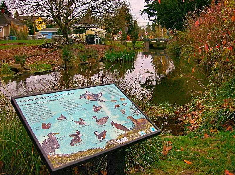 RITA A. LEONARD - This new wildlife interpretive sign is installed at a byway along Crystal Springs Creek, at S.E. 21st and Spokane Street in Sellwood.