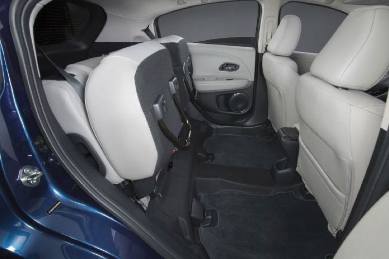 AMERCAN HONDA MOTOR COMPANY - The roomy rear seats in the 2017 Honda HR-V lift up to reveal hidden storage spaces.