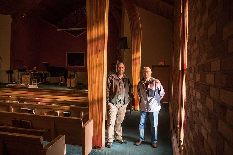 NEWS-TIMES PHOTO: CHASE ALLGOOD - Forest Grove First Baptist elders Steve Dehner (left) and Mike Totman feel like God tapped them on the shoulder and told them to give their church away.