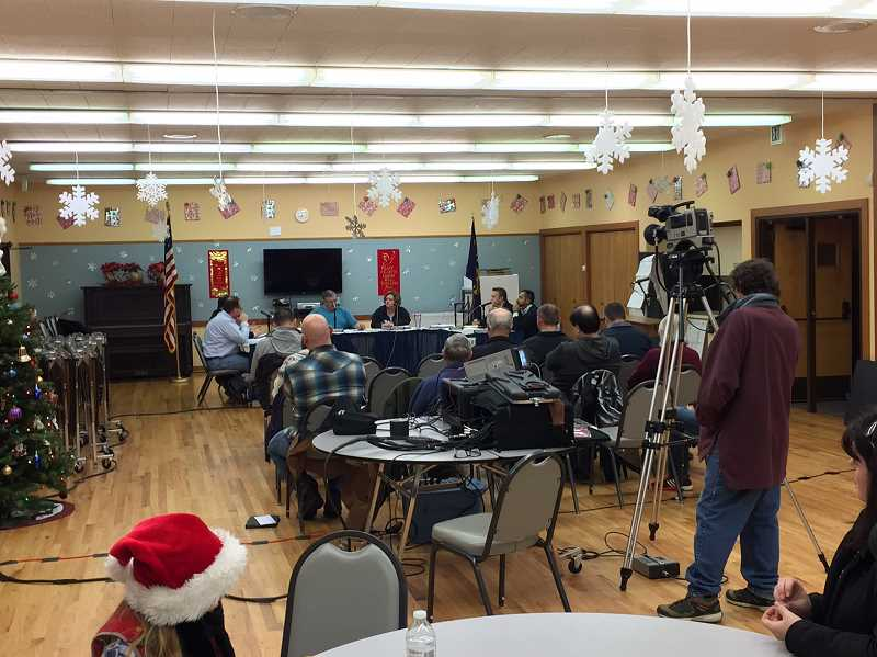 PIONEER PHOTO: CONNER WILLIAMS - People gathered at the Molalla Adult Community Center on Dec. 7 for the monthly Planning Commission meeting.