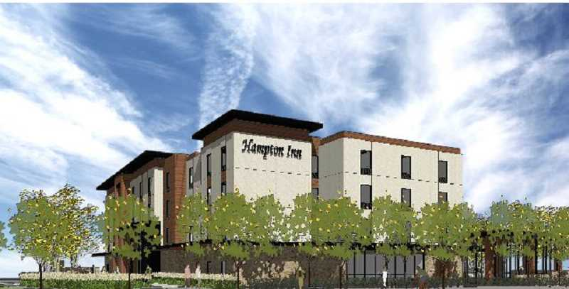COURTESY OF HILL ARCHITECTS - Plans are to build a four-story Hampton Inn at Highway 99W and Meinecke Parkway. It will be the citys first hotel.