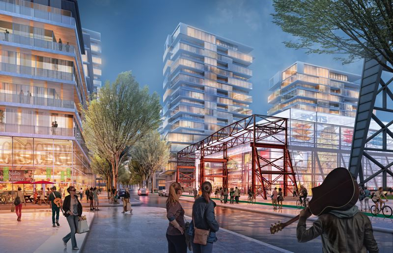 COURTESY: ZIDELL FAMILY REALTY - In this rendering of what could become of Bond Street at Gantry Plaza in the South Waterfront, some of the people in this rendering havent been born yet.