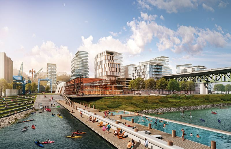 COURTESY: ZIDELL FAMILY REALTY - The old slipway where barges were launched could become a boat launch and swimming pool open to the public. The barge building is expected to be cut in two and reused as offices, shops and apartments.