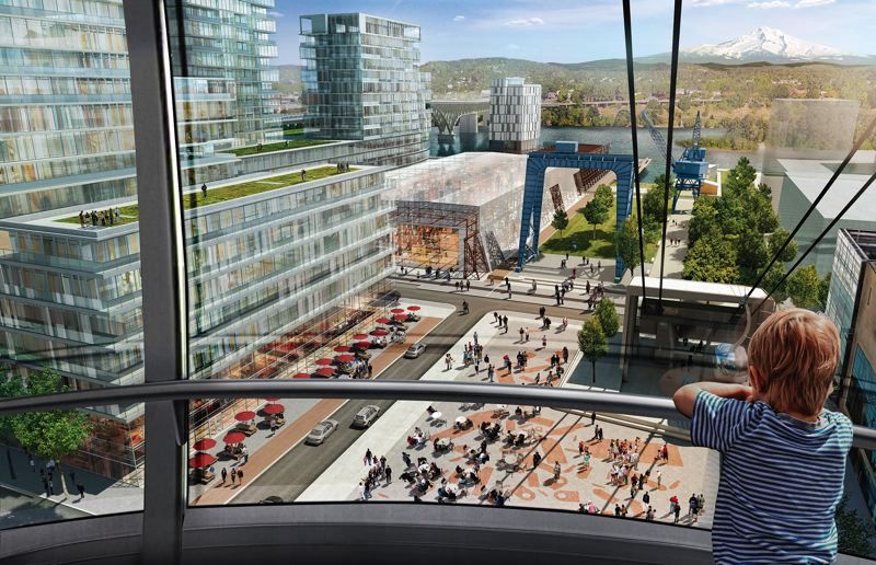 COURTESY: ZIDELL FAMILY REALTY - The projected view from the Portland Aerial Tram as it descends from OHSU's Pill Hill towards Zidell Yards, the new neighborhood envisioned by Zidell Family Realty.