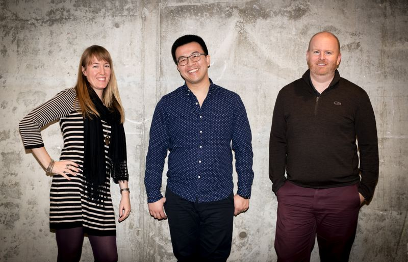 PAMPLIN MEDIA GROUP: JAIME VALDEZ - (L-R) Sarah Bartlett, director of branding and identity, Willy Dang, senior designer, branding and identity and Murray Jenkins, executive vice president and in the concrete zone.