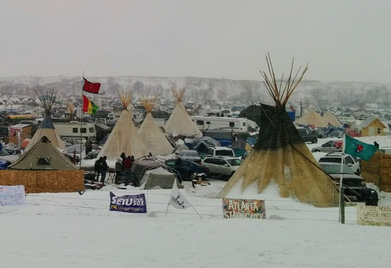 COURTESY PHOTO: GARY FERGUS - Teepees and tents shelter protesters at Camp Oceti Sakowin, scene of an intense confrontation over the Dakota Access pipeline.
