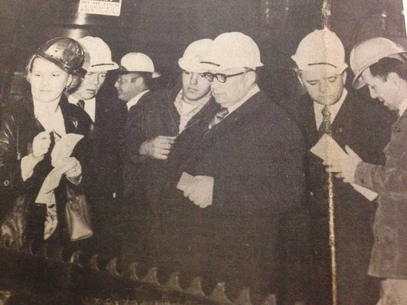 ESTACADA NEWS ARCHIVE PHOTO - In 1975, a group of Russian delegates toured the mill to help determine which equipment should be used in the Soviet Union.