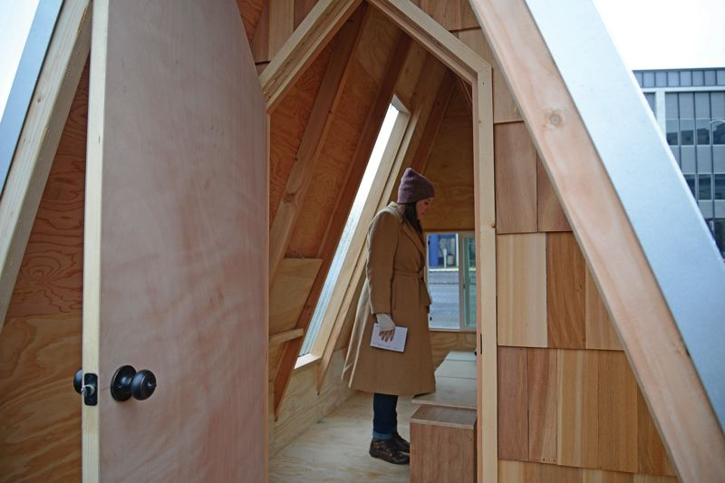COURTSEY: BRIAN LIBBY - The dwellings lack heat, plumbing and electricity (except Scott Edwards Architectures entry, which has a solar-powered lightbulb), but offer more than a minimum bunk like warehouse-style shelters.