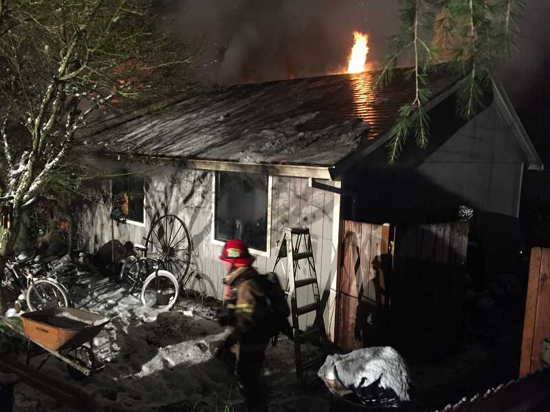 COURTESY OF TVF&R - A fire destroyed the Mansfield Street home of the Brown familly on Dec. 14.