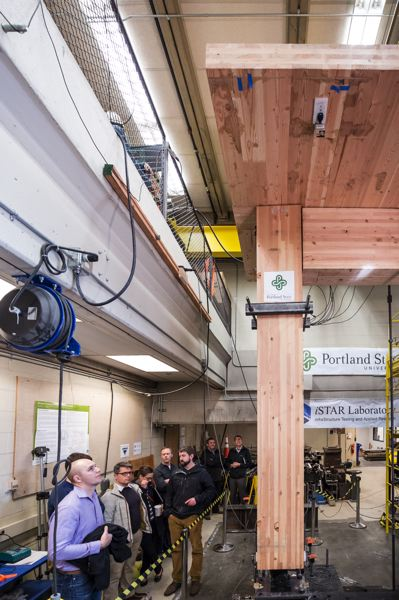 TRIBUNE PHOTO: JON HOUSE - Peter Dusicka and his associates at the PSU Infrastructure Testing and Applied Research Laboratory test a section of a mass timber structure to measure how seismically resilient it is.