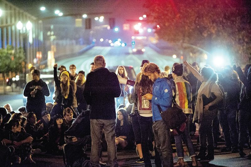 PORTLAND TRIBUNE FILE PHOTO - Protesters mad about police violence and the Trump election take over the streets in Portland.