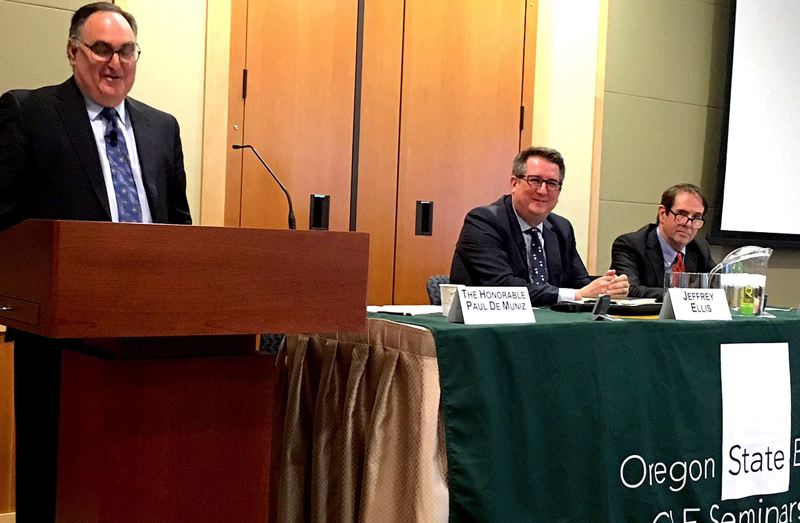 TRIBUNE PHOTO: PETER WONG - From left, former Oregon Chief Justice Paul De Muniz, moderator; Jeff Ellis, Josh Marquis at Oregon State Bar discussion of death penalty Dec. 22 in Tigard