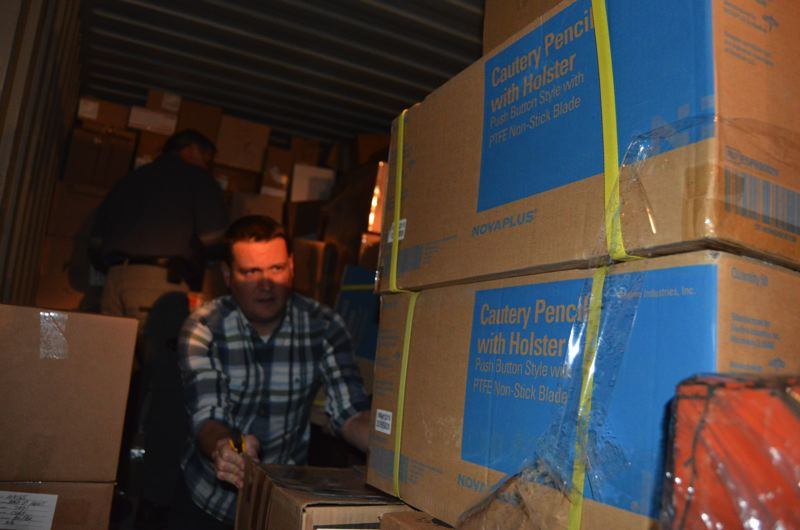 COURTESY OF MEDICAL TEAMS INTERNATIONAL - Workers at Medical Teams Internationals' warehouse in Tigard load up a shipment of medical supplies for Syrian refugees and internally displaced persons.