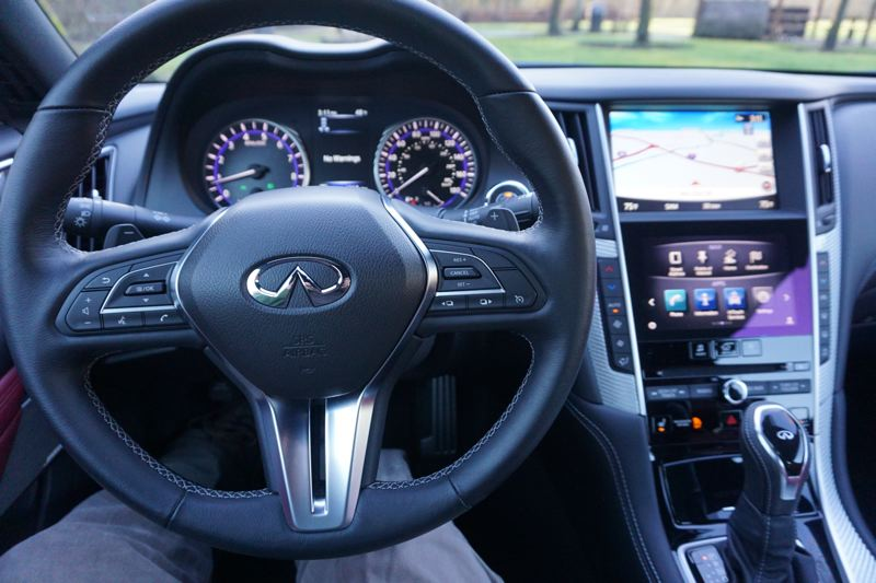 PORTLAND TRIBUNE: JEFF ZURSCHMEIDE - Like most modern cars, the Infiniti Q60 has a great technology package, including a rear-view camera and surround-view camera. You also get the Infiniti InTouch dual display dashboard with all the usual smartphone integration services, including voice control.