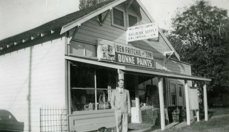 SUBMITTED PHOTO - Ben Fritchie Sr. outside the family's business in the Williamette neighborhood, which they purchased in 1946. While the family bought the store in 1946, property records indicate it was built in 1915.
