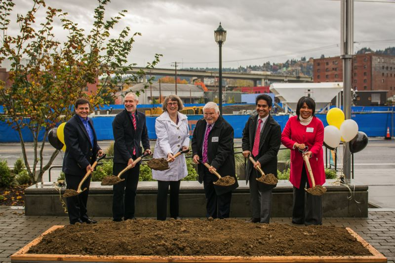 COURTESY: CHELON IONE PHOTOGRAPHY. - The groundbreaking of Field Office, the office and retail space that will attempt to  work-gentrify Northwest Portland along the railroad line at NW Front Ave. (L-R) James Freko, National Real Estate Advisors, Tom Cody, project^, State Senator Ginny Burdick, Metro Council President Tom Hughes, Jonathan Ledesma, project^, Loretta Smith, Multnomah County Commissioner