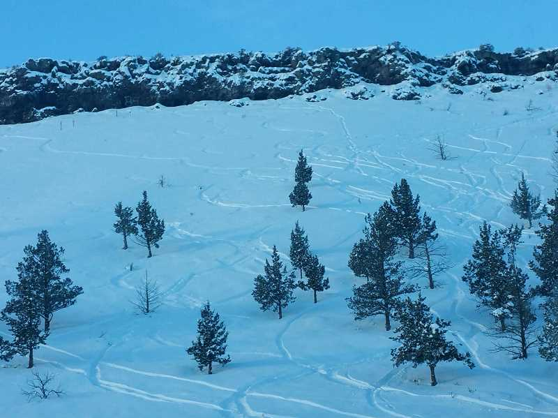 PHOTO COURTESY OF MELISSA MEEKER  - Adventurous Prineville residents left their ski tracks on the Ochoco Viewpoint.