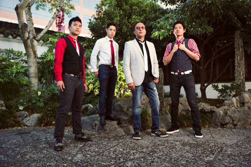 COURTESY PHOTO: THE SLANTS - The Slants, an Asian-American dance-rock band, are Yuya Matsuda, Ken Shima, Joe X. Jiang and Simon Tam (whose stage name is Simon Young). The band's free-speech case is being heard Jan. 18 by the U.S. Supreme Court.